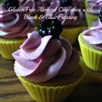 Gluten Free Almond Cupcakes with Black & Blue Frosting