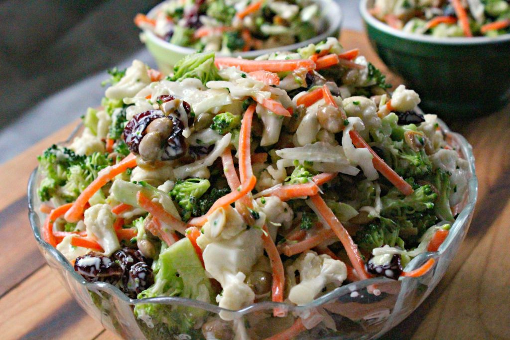 Broccoli Crunch Salad Close up.